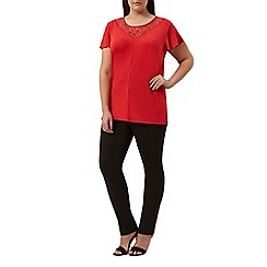 Windsmoor - Rouge jersey lace top