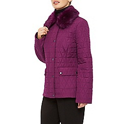 Precis Petite - Short Fur Collar Quilted Coat