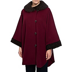Jacques Vert - Astrakhan Trim Cape - Unlined