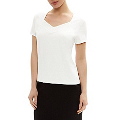 Precis Petite - Detailed solid jersey top