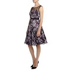Kaliko - Shadow Leaf Print Flock Dress