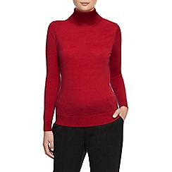 Planet - Red knit roll neck jumper