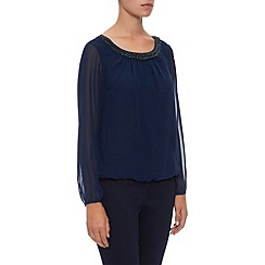 Kaliko - Beaded Neck Chiffon Blouse