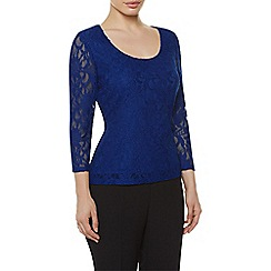 Precis Petite - Blue Lace Scoop Top