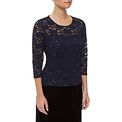 Precis Petite - Sheer Lace Yoke Top