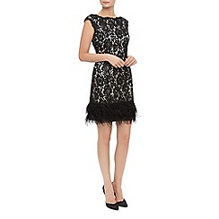 Kaliko - Lace Feather Trim Shift Dress