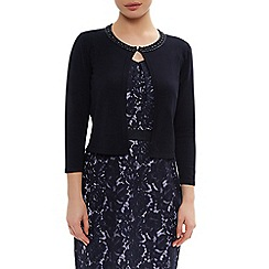 Precis Petite - Navy Beaded Cardigan