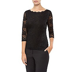 Planet - Scallop Lace Jersey Top