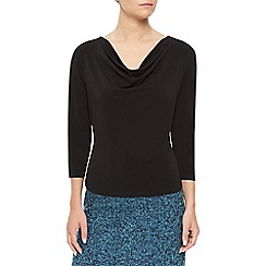 Precis Petite - Black Cowl Neck Top