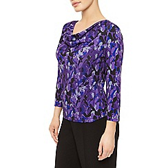 Precis Petite - Layered Leaf Cowl Neck Top