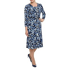 Eastex - Belted Print Jersey Dress