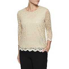 Eastex - Gold Lace Scallop Sequin Top