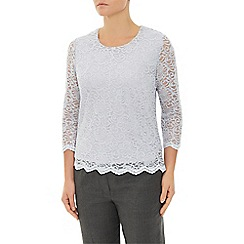 Eastex - Silver Lace Scallop Sequin Top