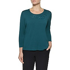 Eastex - Teal Beaded Neck Jumper