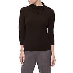Precis Petite - Boucle Button  Ribbed Jumper