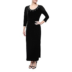 Precis Petite - Velvet Maxi  Embroidered Dress