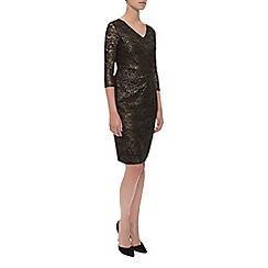 Kaliko - Black & Gold Floral Lace Dress