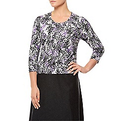 Eastex - Mini Stippled Leaf Print Top