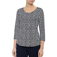 Dash - Navy & Cream Print Top