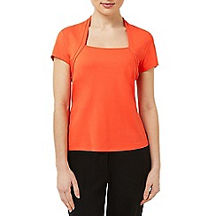Precis Petite - Orange Shrug Detail Top