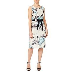 Precis Petite - Aqua Floral Shantung Dress