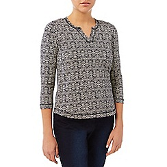 Dash - Zig Zag Print Notch Neck Top