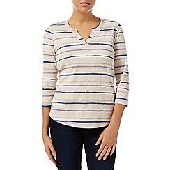 Dash - Neutral Stripe Notch Neck Top