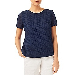 Dash - Navy Broidery Top