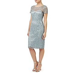 Precis Petite - Aqua Sequin Lace Dress