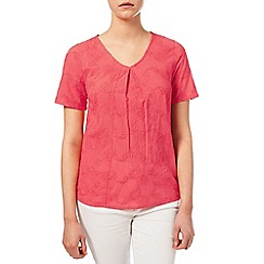 Dash - Embroidered Coral Top