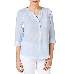 Dash - Soft Blue Linen Stripe Blouse