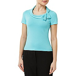 Precis - Aqua Knitted Bardot Top