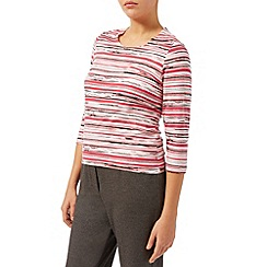 Eastex - Coral painterly stripe top