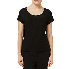 Precis Petite - Embellished Black Jersey Top
