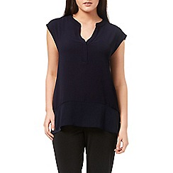 Windsmoor - Navy Textured Sheer Mix Top