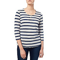 Dash - Navy Textured Stripe Top