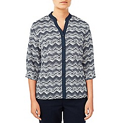 Eastex - Contrast Tipped Zig Zag Blouse