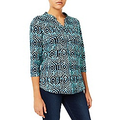 Dash - Aqua Tile Print Jersey Top