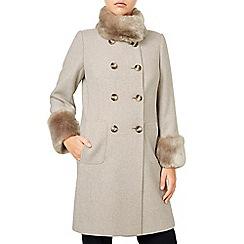 Jacques Vert - Db Twill Faux Fur Trim Coat