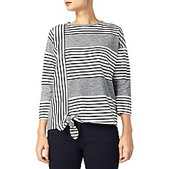 Dash - Navy Stripe Tie Front Top