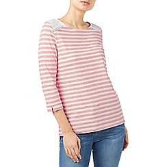 Dash - Broidery yoke stripe top