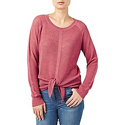 Dash - Coral Tie Front Knit Top