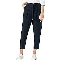Dash - Navy tencel tie waist trousers