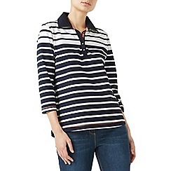 Dash - Navy engineered stripe rugby top