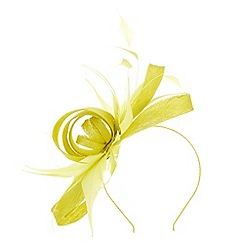 Precis - Bright yellow chartreuse bow fascinator