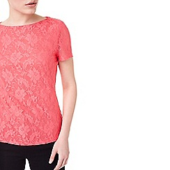 Precis - Nell coral lace jersey top