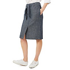 Dash - Grey tie-waist linen skirt
