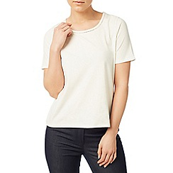 Eastex - Ivory trim detail jersey top
