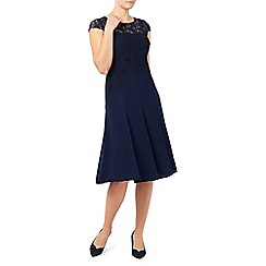 Jacques Vert - Navy leaf lace top crepe soft dress