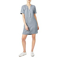 Dash - Light blue linen stripe shirt dress